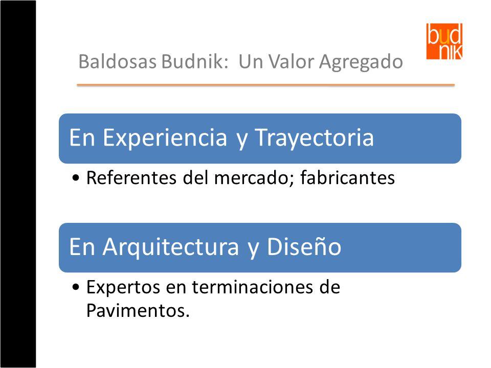 En Experiencia y Trayectoria Referentes del mercado; fabricantes En Arquitectura y Diseño Expertos en terminaciones de Pavimentos. Baldosas Budnik: Un