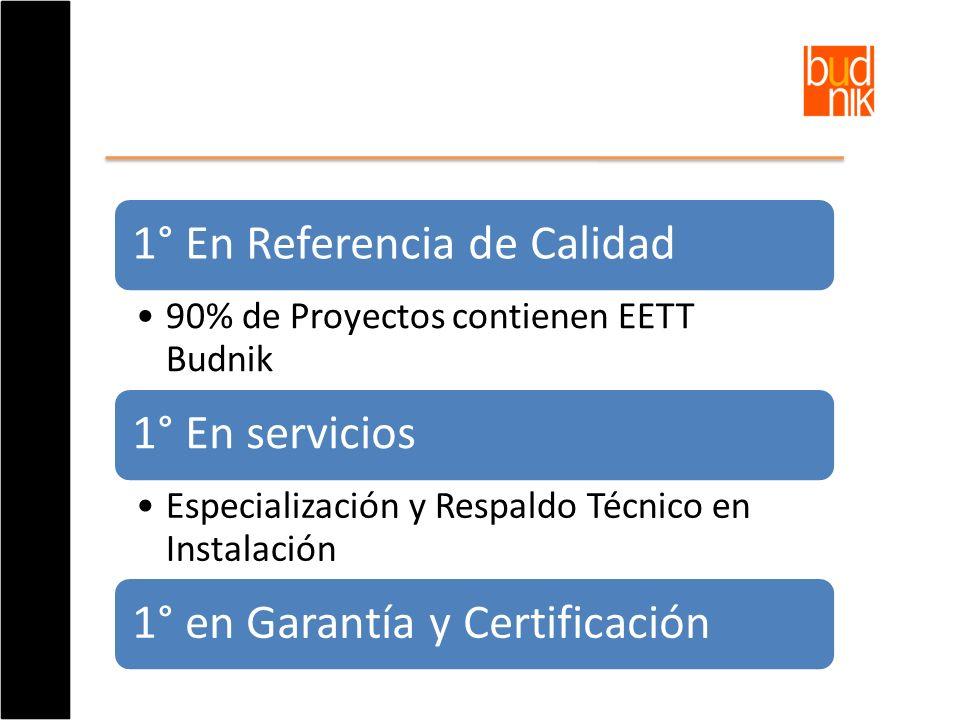 1° En Referencia de Calidad 90% de Proyectos contienen EETT Budnik 1° En servicios Especialización y Respaldo Técnico en Instalación 1° en Garantía y
