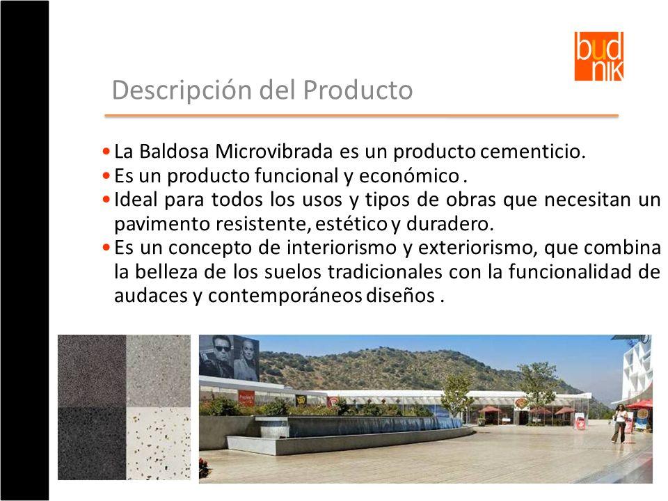 Descripción del Producto La Baldosa Microvibrada es un producto cementicio. Es un producto funcional y económico. Ideal para todos los usos y tipos de