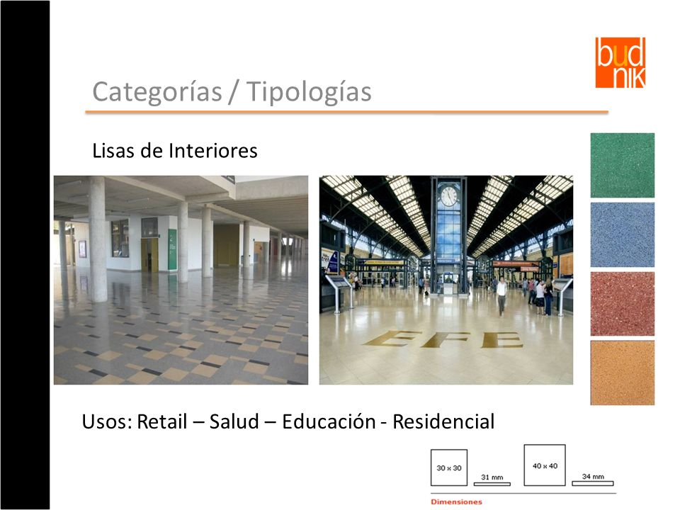 Categorías / Tipologías Lisas de Interiores Usos: Retail – Salud – Educación - Residencial