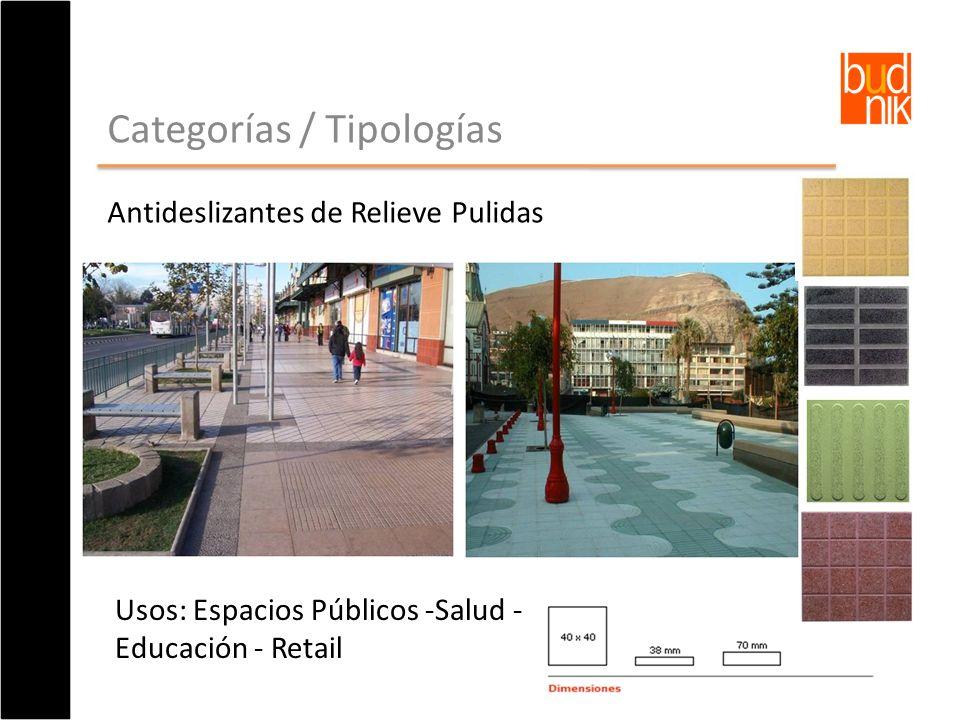 Categorías / Tipologías Antideslizantes de Relieve Pulidas Usos: Espacios Públicos -Salud - Educación - Retail