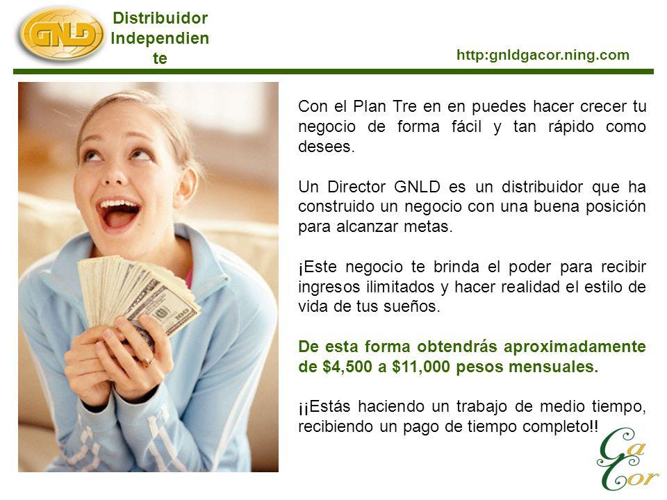 Distribuidor Independien te http:gnldgacor.ning.com Con el Plan Tre en en puedes hacer crecer tu negocio de forma fácil y tan rápido como desees. Un D