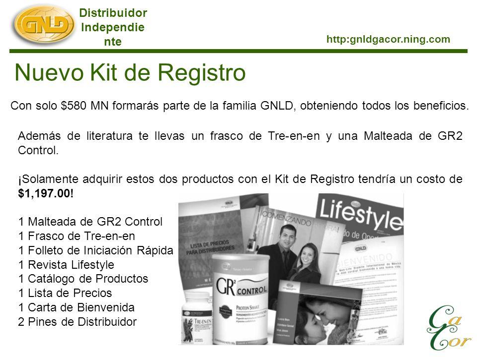 Distribuidor Independie nte http:gnldgacor.ning.com Nuevo Kit de Registro Con solo $580 MN formarás parte de la familia GNLD, obteniendo todos los beneficios.