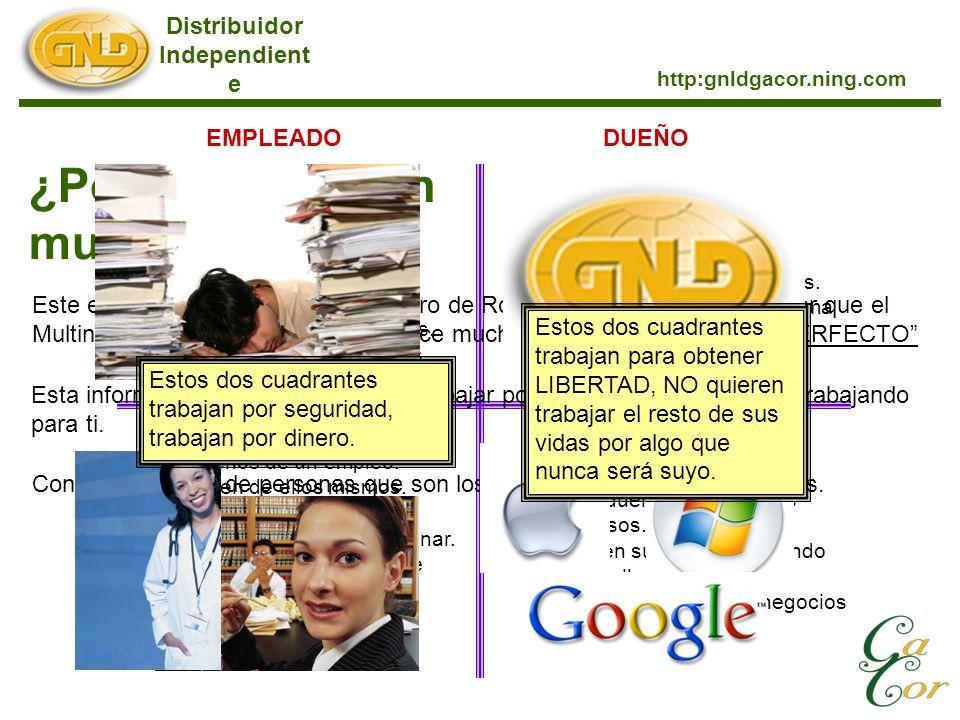 Distribuidor Independient e http:gnldgacor.ning.com ¿Porque elegir un multinivel? Este es el cuadrante de flujo de dinero de Robert Kiyosaki, que te d