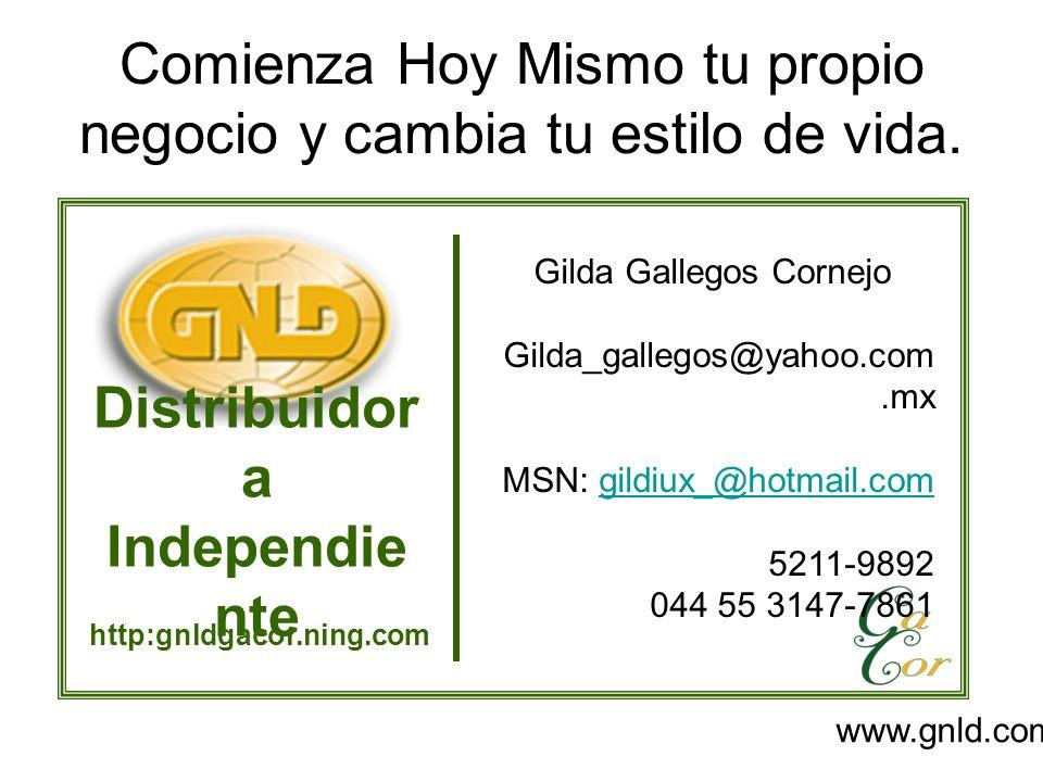 Comienza Hoy Mismo tu propio negocio y cambia tu estilo de vida. Distribuidor a Independie nte http:gnldgacor.ning.com Gilda Gallegos Cornejo Gilda_ga