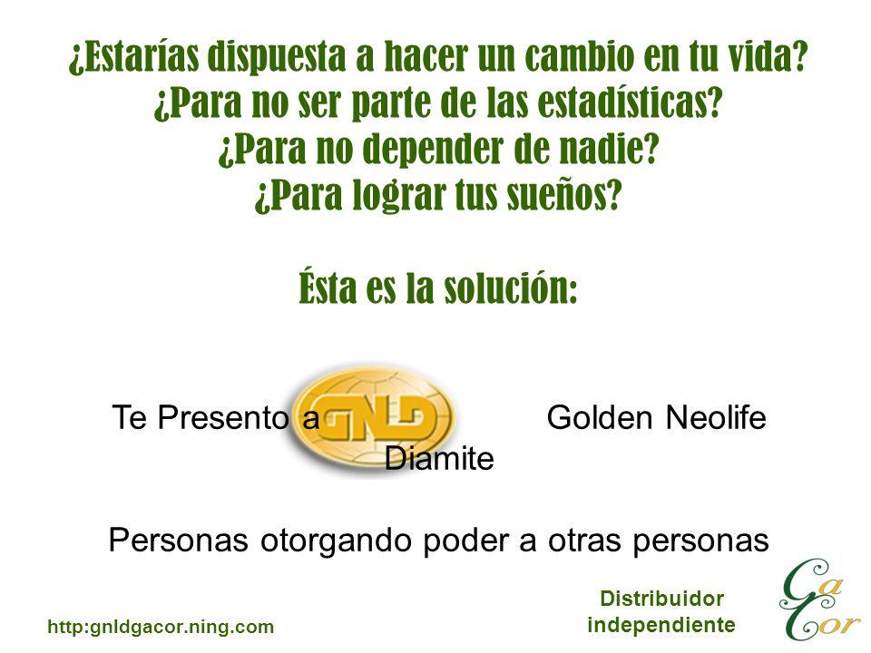 Distribuidor independiente http:gnldgacor.ning.com ¿Estarías dispuesta a hacer un cambio en tu vida? ¿Para no ser parte de las estadísticas? ¿Para no