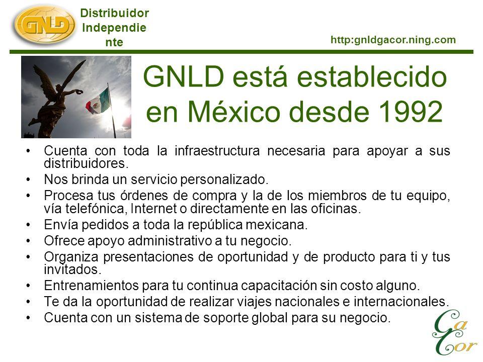 GNLD está establecido en México desde 1992 Cuenta con toda la infraestructura necesaria para apoyar a sus distribuidores. Nos brinda un servicio perso