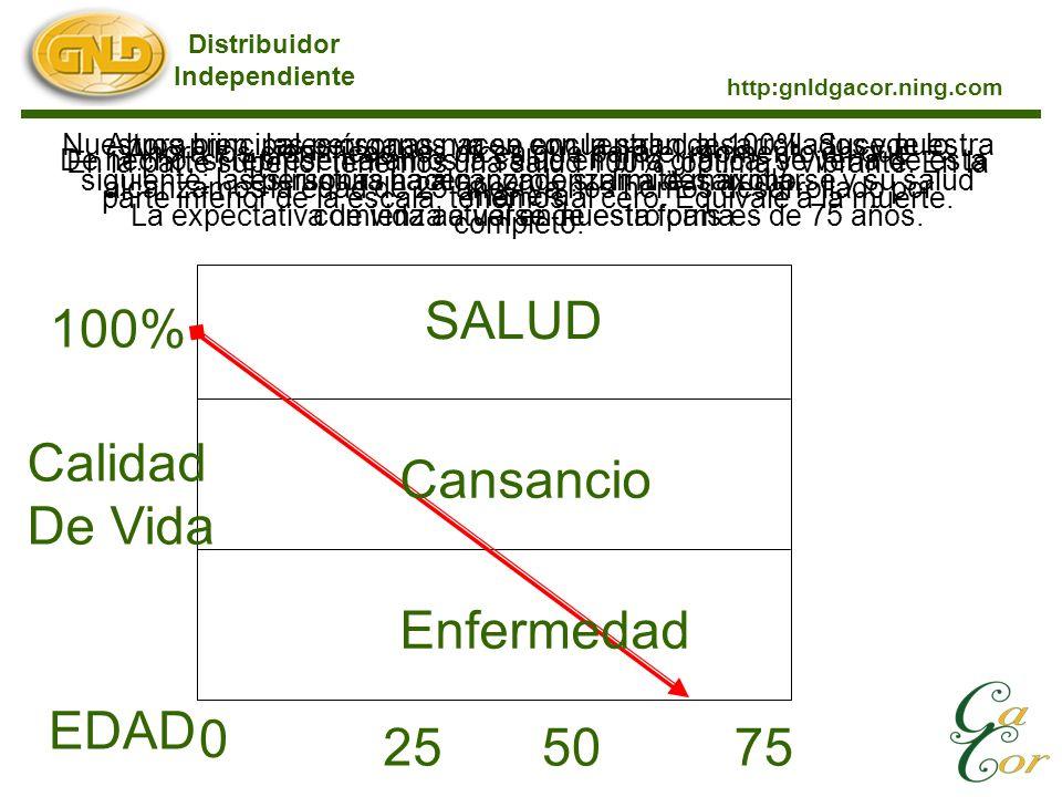 De hecho, si representáramos la salud en una gráfica, se vería de esta manera: Distribuidor Independiente http:gnldgacor.ning.com 100% Calidad De Vida SALUD EDAD 0 En la parte superior tenemos una salud 100%, óptima y vibrante.