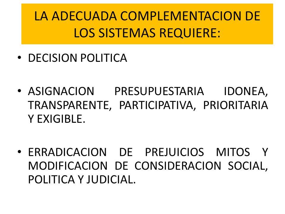 LA ADECUADA COMPLEMENTACION DE LOS SISTEMAS REQUIERE: DECISION POLITICA ASIGNACION PRESUPUESTARIA IDONEA, TRANSPARENTE, PARTICIPATIVA, PRIORITARIA Y E