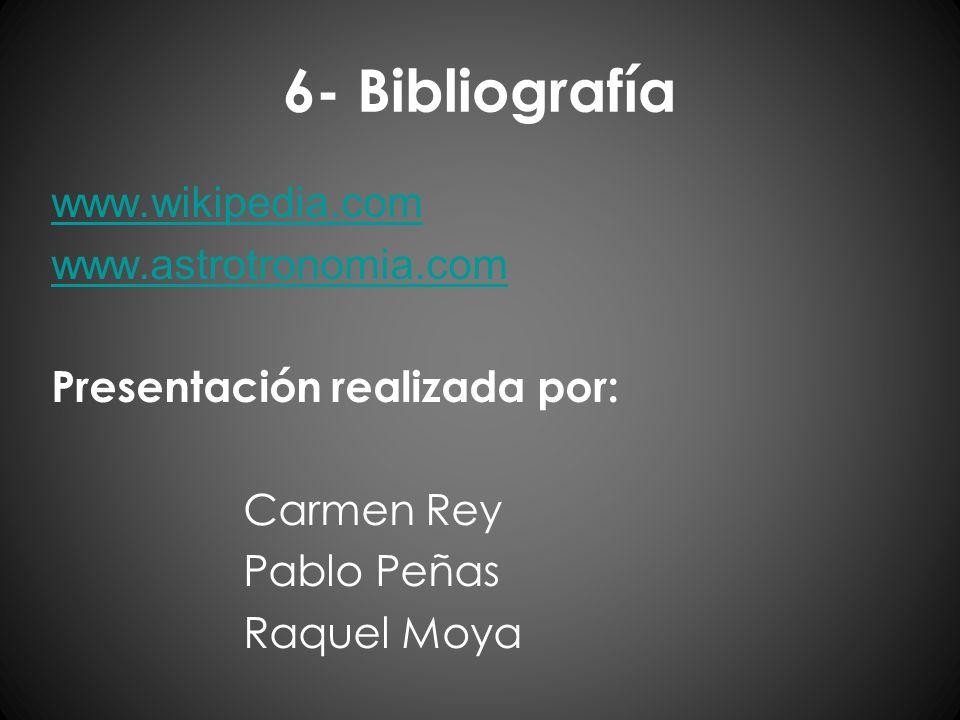6- Bibliografía www.wikipedia.com www.astrotronomia.com Presentación realizada por: Carmen Rey Pablo Peñas Raquel Moya