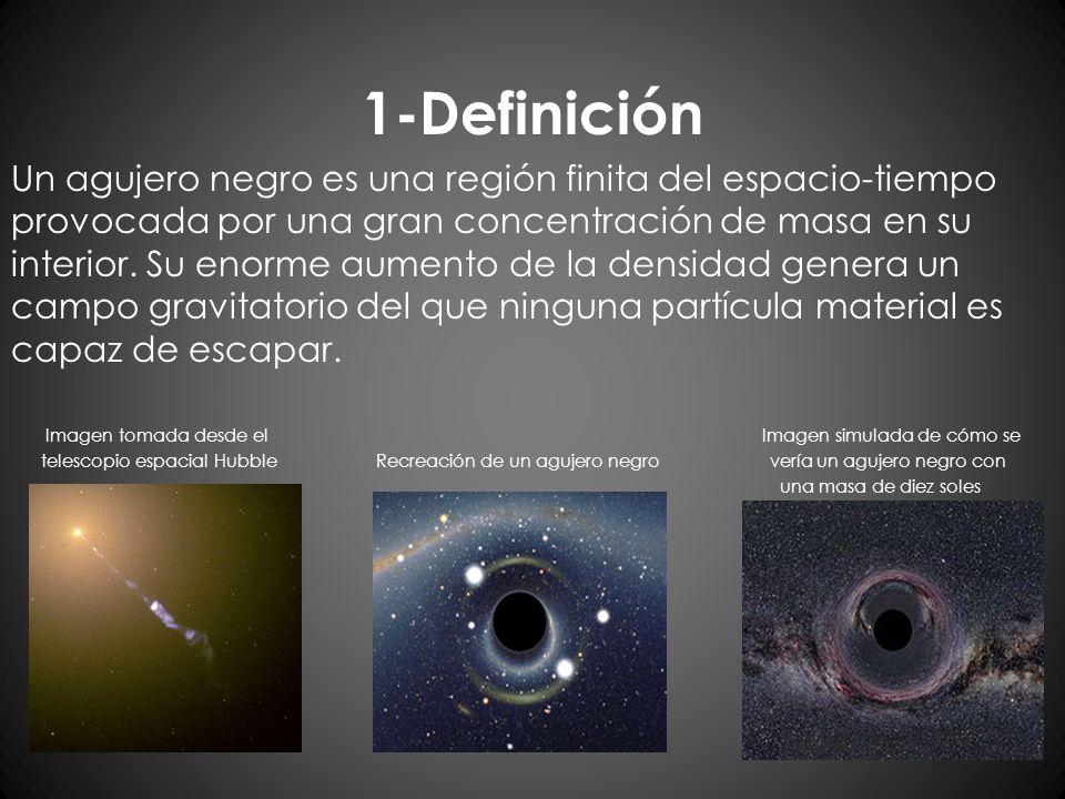1-Definición Un agujero negro es una región finita del espacio-tiempo provocada por una gran concentración de masa en su interior. Su enorme aumento d