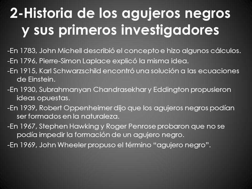 2-Historia de los agujeros negros y sus primeros investigadores -En 1783, John Michell describió el concepto e hizo algunos cálculos. -En 1796, Pierre
