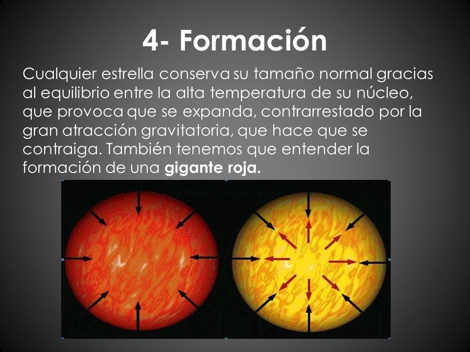 4- Formación Cualquier estrella conserva su tamaño normal gracias al equilibrio entre la alta temperatura de su núcleo, que provoca que se expanda, co