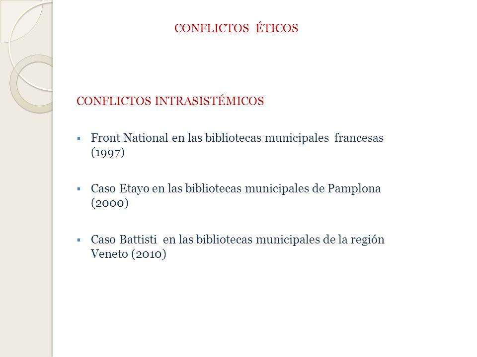 CONFLICTOS ÉTICOS CONFLICTOS INTRASISTÉMICOS Front National en las bibliotecas municipales francesas (1997) Caso Etayo en las bibliotecas municipales de Pamplona (2000) Caso Battisti en las bibliotecas municipales de la región Veneto (2010)