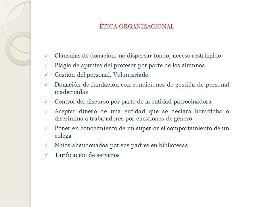 ÉTICA ORGANIZACIONAL Cláusulas de donación: no dispersar fondo, acceso restringido Plagio de apuntes del profesor por parte de los alumnos Gestión del personal.