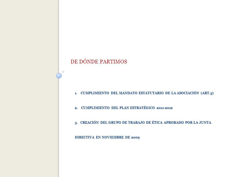 1.CUMPLIMIENTO DEL MANDATO ESTATUTARIO DE LA ASOCIACIÓN (ART.3) 2.