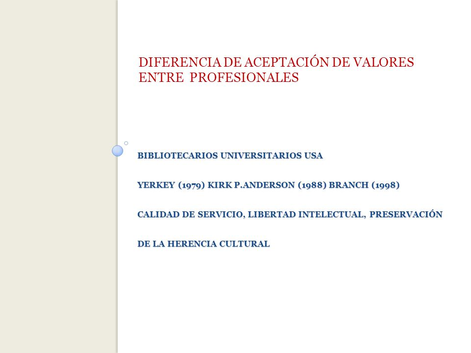 BIBLIOTECARIOS UNIVERSITARIOS USA YERKEY (1979) KIRK P.ANDERSON (1988) BRANCH (1998) CALIDAD DE SERVICIO, LIBERTAD INTELECTUAL, PRESERVACIÓN DE LA HERENCIA CULTURAL DIFERENCIA DE ACEPTACIÓN DE VALORES ENTRE PROFESIONALES