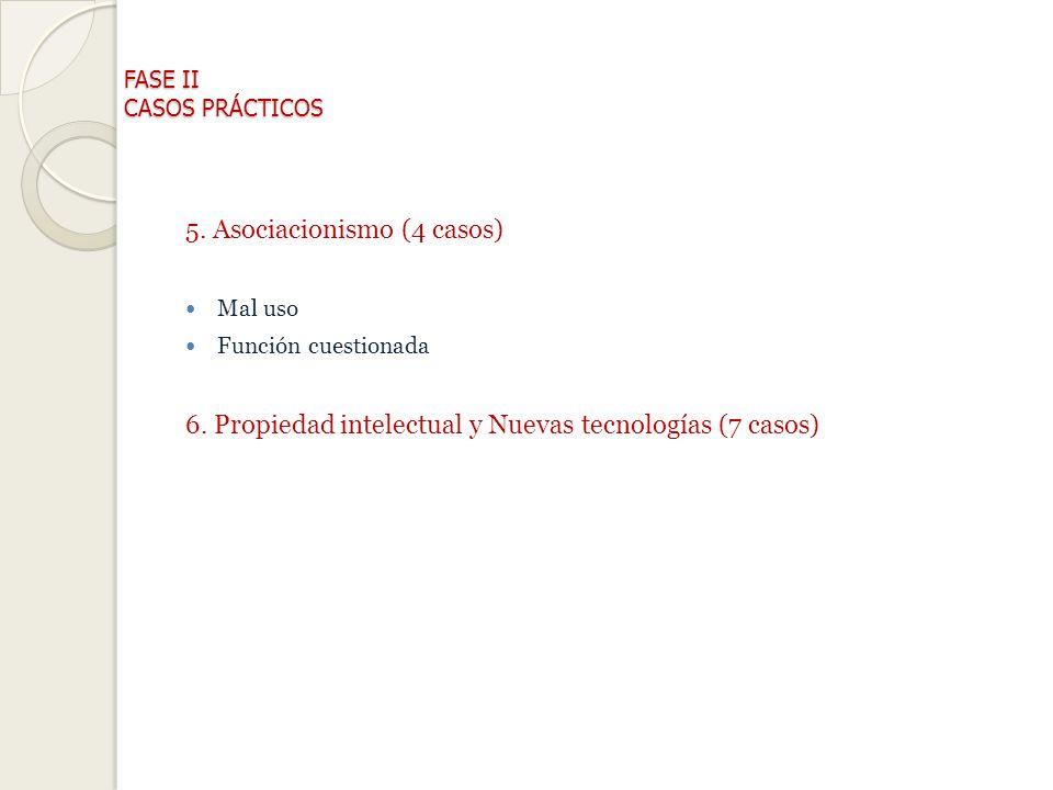 FASE II CASOS PRÁCTICOS 5.Asociacionismo (4 casos) Mal uso Función cuestionada 6.