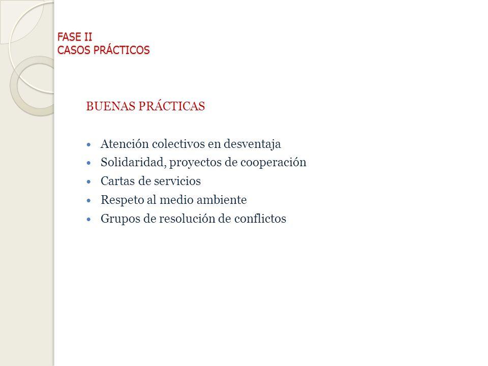 FASE II CASOS PRÁCTICOS BUENAS PRÁCTICAS Atención colectivos en desventaja Solidaridad, proyectos de cooperación Cartas de servicios Respeto al medio ambiente Grupos de resolución de conflictos