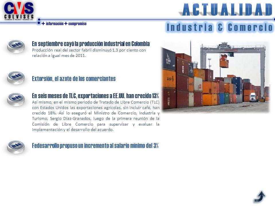 + información + compromiso En septiembre cayó la producción industrial en Colombia Producción real del sector fabril disminuyó 1,3 por ciento con relación a igual mes de 2011.