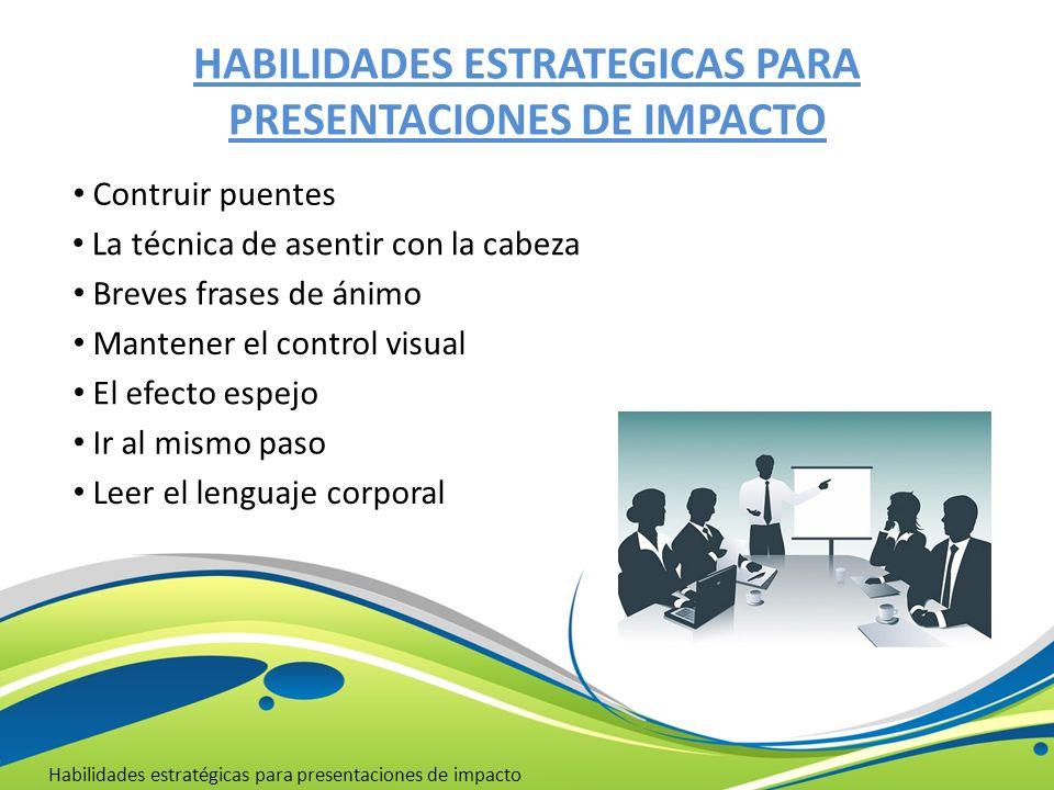 HABILIDADES ESTRATEGICAS PARA PRESENTACIONES DE IMPACTO Habilidades estratégicas para presentaciones de impacto La técnica de asentir con la cabeza Br