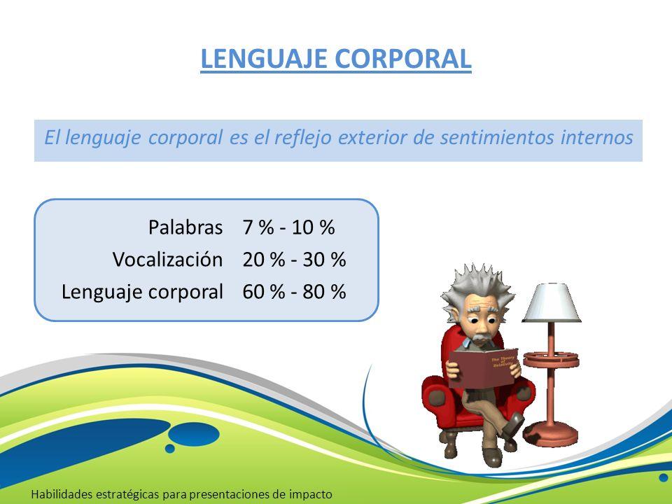 LENGUAJE CORPORAL Habilidades estratégicas para presentaciones de impacto Palabras Vocalización Lenguaje corporal 7 % - 10 % 20 % - 30 % 60 % - 80 % E