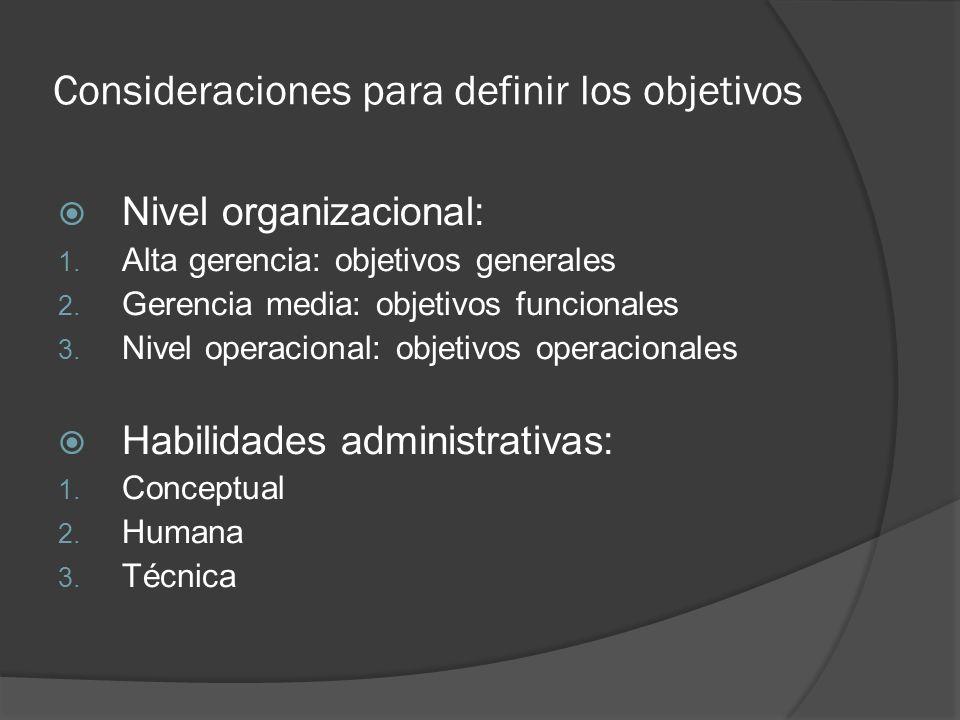 Consideraciones para definir los objetivos Nivel organizacional: 1. Alta gerencia: objetivos generales 2. Gerencia media: objetivos funcionales 3. Niv