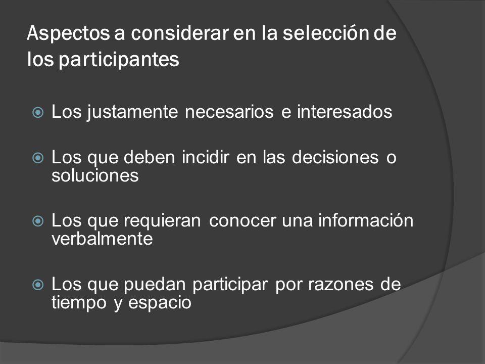 Aspectos a considerar en la selección de los participantes Los justamente necesarios e interesados Los que deben incidir en las decisiones o solucione