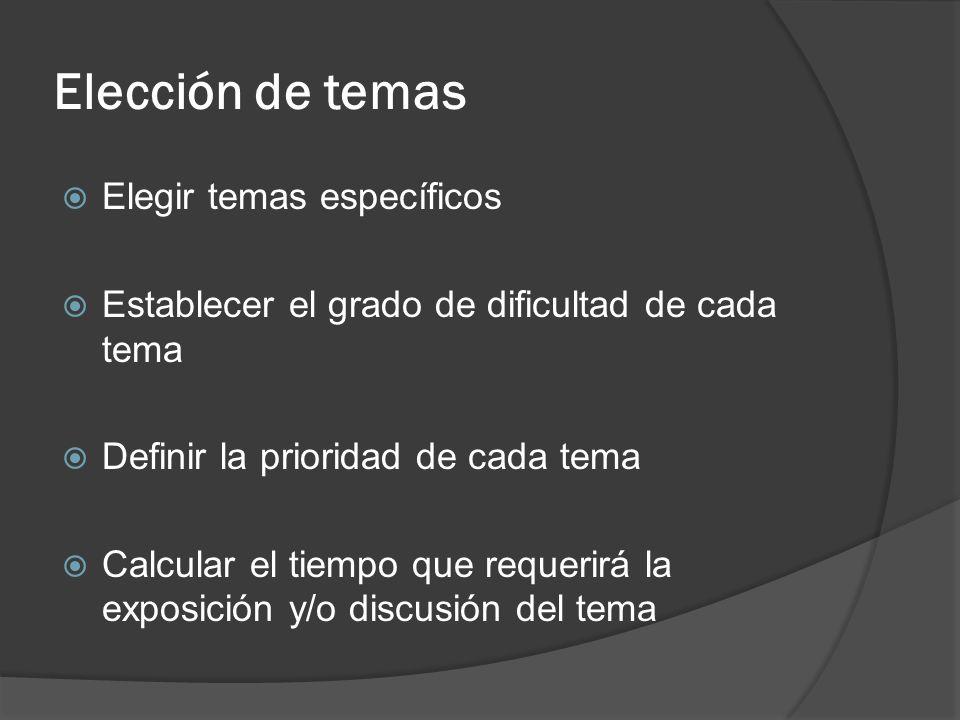 Elección de temas Elegir temas específicos Establecer el grado de dificultad de cada tema Definir la prioridad de cada tema Calcular el tiempo que req