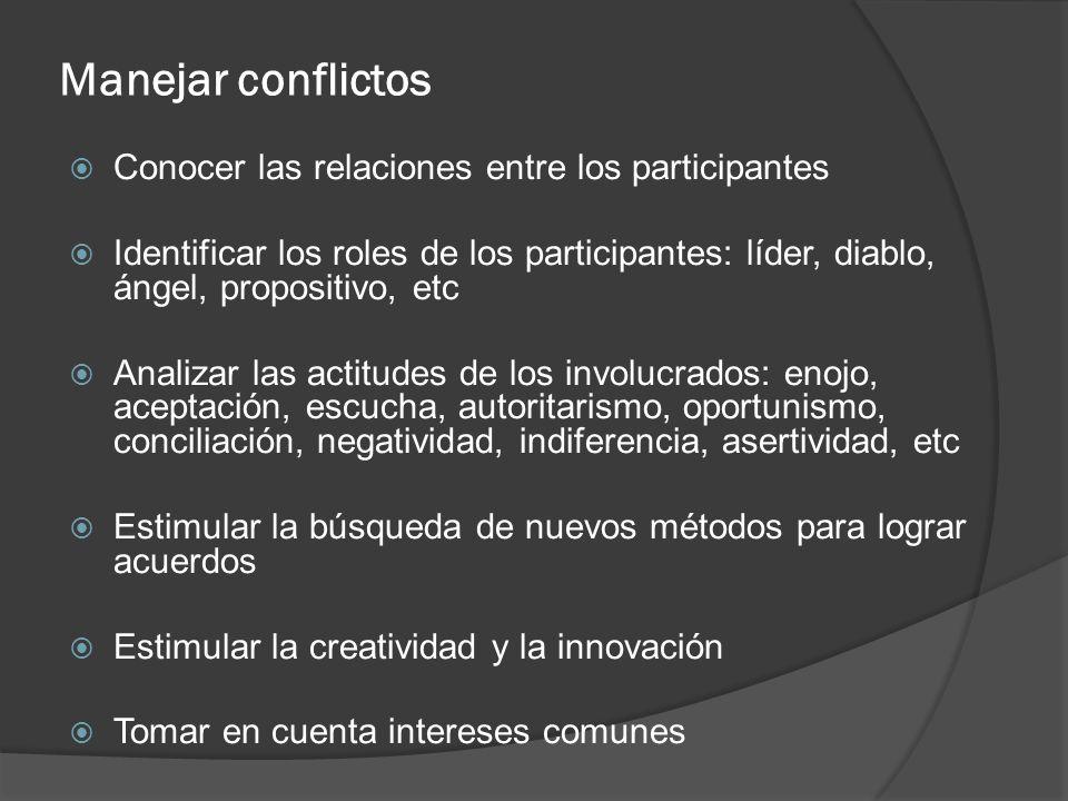 Manejar conflictos Conocer las relaciones entre los participantes Identificar los roles de los participantes: líder, diablo, ángel, propositivo, etc A