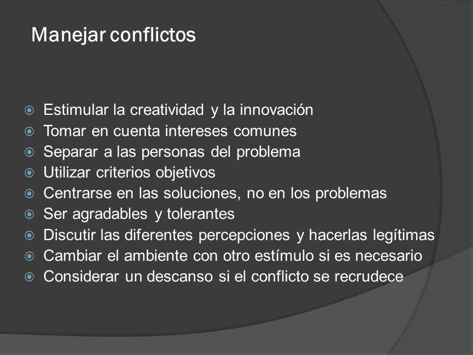 Manejar conflictos Estimular la creatividad y la innovación Tomar en cuenta intereses comunes Separar a las personas del problema Utilizar criterios o