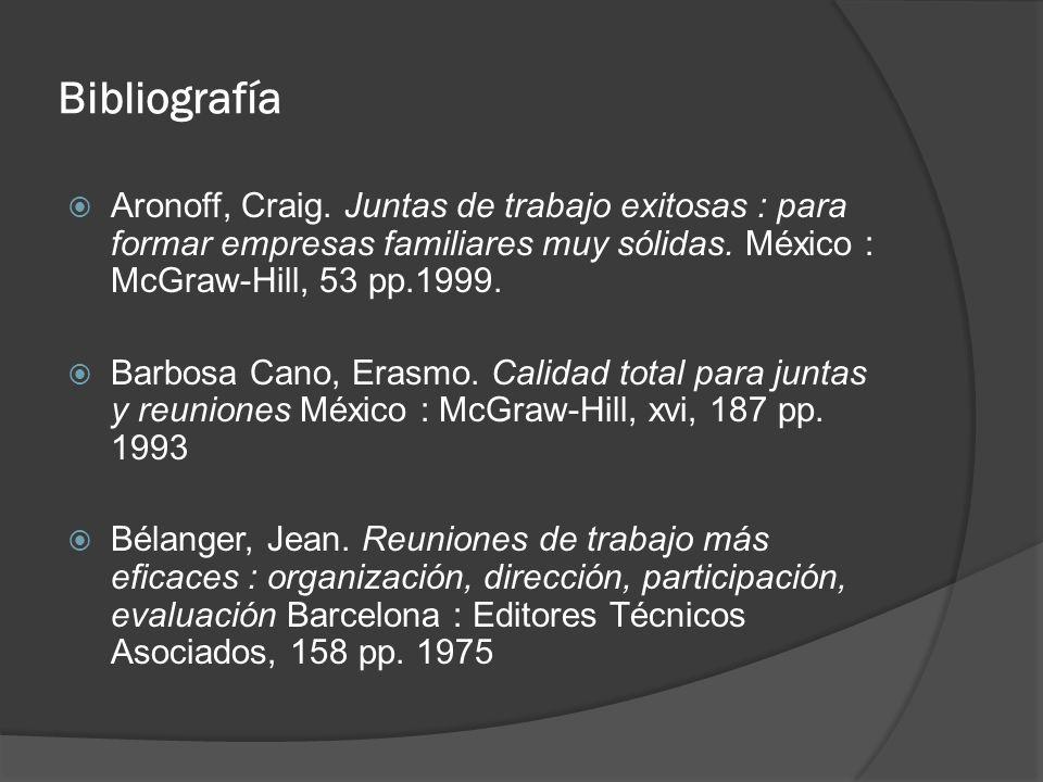 Bibliografía Aronoff, Craig. Juntas de trabajo exitosas : para formar empresas familiares muy sólidas. México : McGraw-Hill, 53 pp.1999. Barbosa Cano,