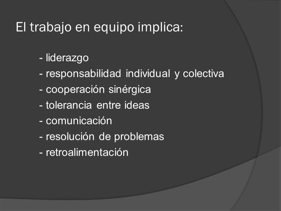 El trabajo en equipo implica : - liderazgo - responsabilidad individual y colectiva - cooperación sinérgica - tolerancia entre ideas - comunicación -