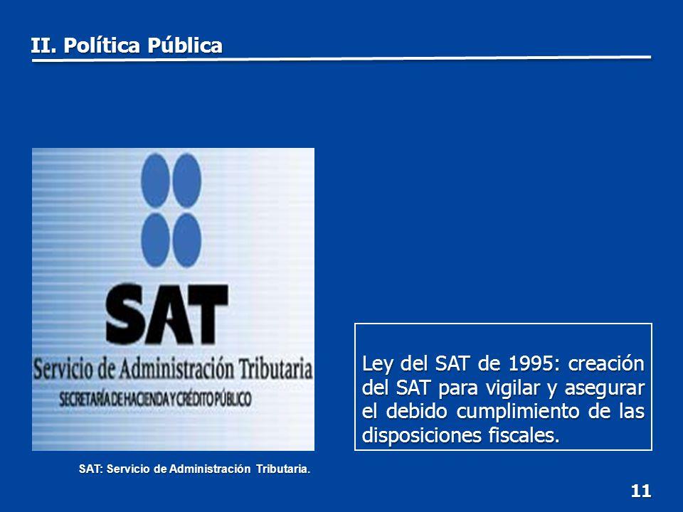 11 Ley del SAT de 1995: creación del SAT para vigilar y asegurar el debido cumplimiento de las disposiciones fiscales.