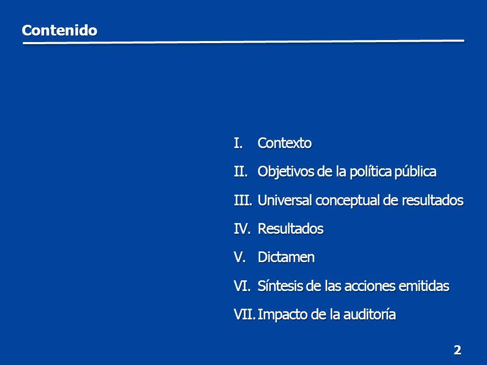 Contenido 2 I.Contexto II.Objetivos de la política pública III.Universal conceptual de resultados IV.Resultados V.Dictamen VI.Síntesis de las acciones emitidas VII.Impacto de la auditoría I.Contexto II.Objetivos de la política pública III.Universal conceptual de resultados IV.Resultados V.Dictamen VI.Síntesis de las acciones emitidas VII.Impacto de la auditoría