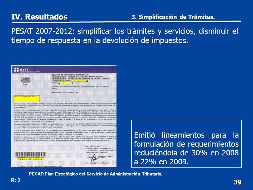 39 Emitió lineamientos para la formulación de requerimientos reduciéndola de 30% en 2008 a 22% en 2009.