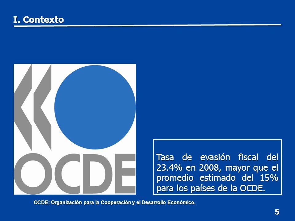 5 Tasa de evasión fiscal del 23.4% en 2008, mayor que el promedio estimado del 15% para los países de la OCDE.