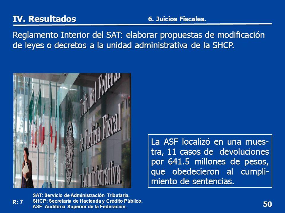 50 La ASF localizó en una mues- tra, 11 casos de devoluciones por 641.5 millones de pesos, que obedecieron al cumpli- miento de sentencias.