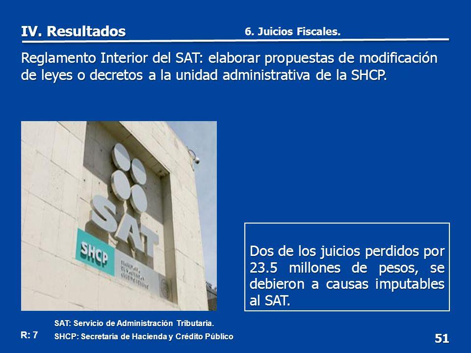 51 Dos de los juicios perdidos por 23.5 millones de pesos, se debieron a causas imputables al SAT.