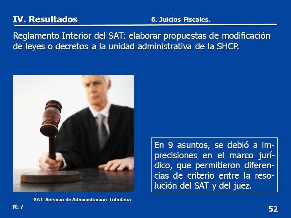 52 En 9 asuntos, se debió a im- precisiones en el marco jurí- dico, que permitieron diferen- cias de criterio entre la reso- lución del SAT y del juez.