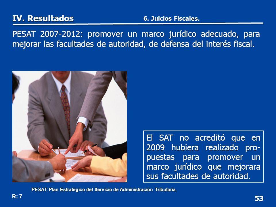 53 El SAT no acreditó que en 2009 hubiera realizado pro- puestas para promover un marco jurídico que mejorara sus facultades de autoridad.