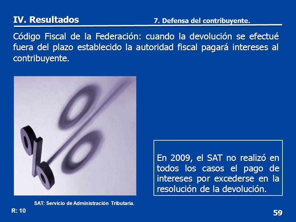 59 En 2009, el SAT no realizó en todos los casos el pago de intereses por excederse en la resolución de la devolución.