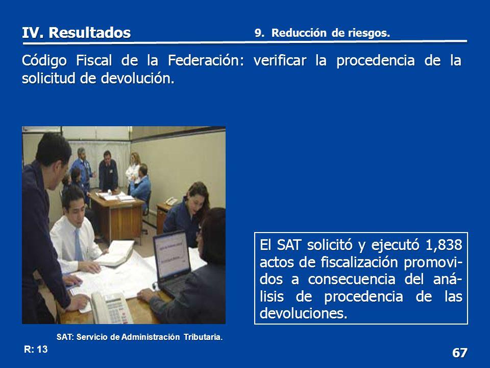 67 R: 13 El SAT solicitó y ejecutó 1,838 actos de fiscalización promovi- dos a consecuencia del aná- lisis de procedencia de las devoluciones.