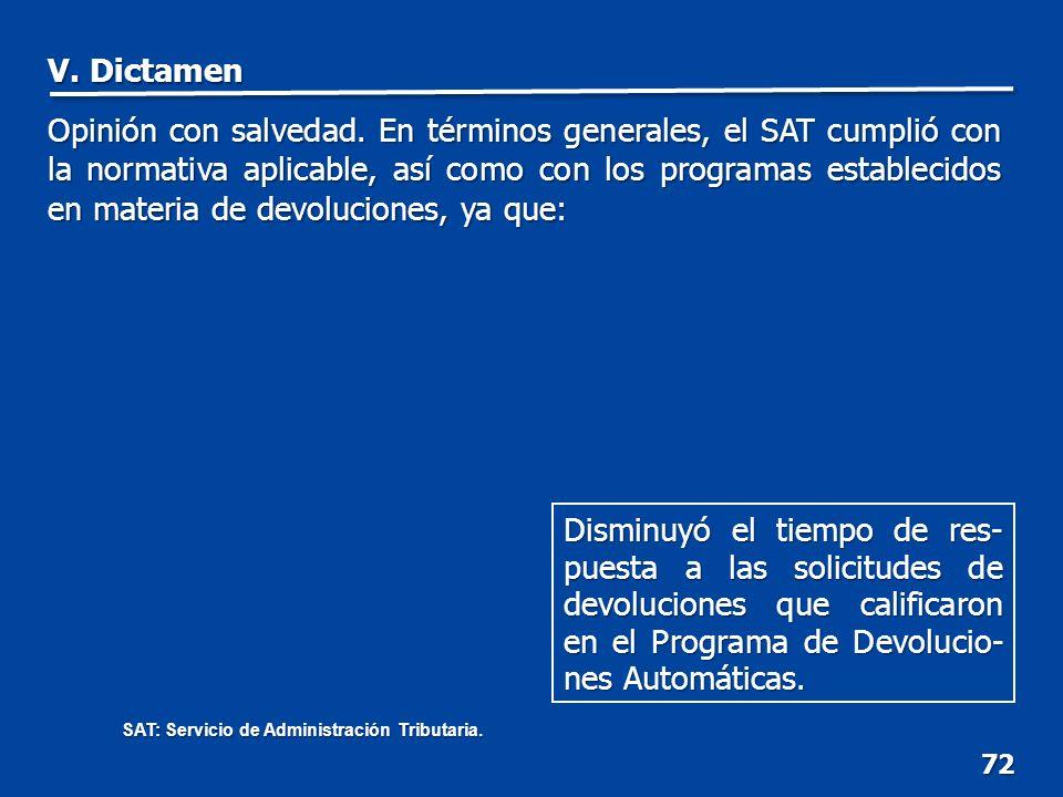 72 Disminuyó el tiempo de res- puesta a las solicitudes de devoluciones que calificaron en el Programa de Devolucio- nes Automáticas.