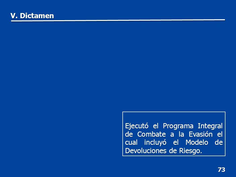 73 Ejecutó el Programa Integral de Combate a la Evasión el cual incluyó el Modelo de Devoluciones de Riesgo.