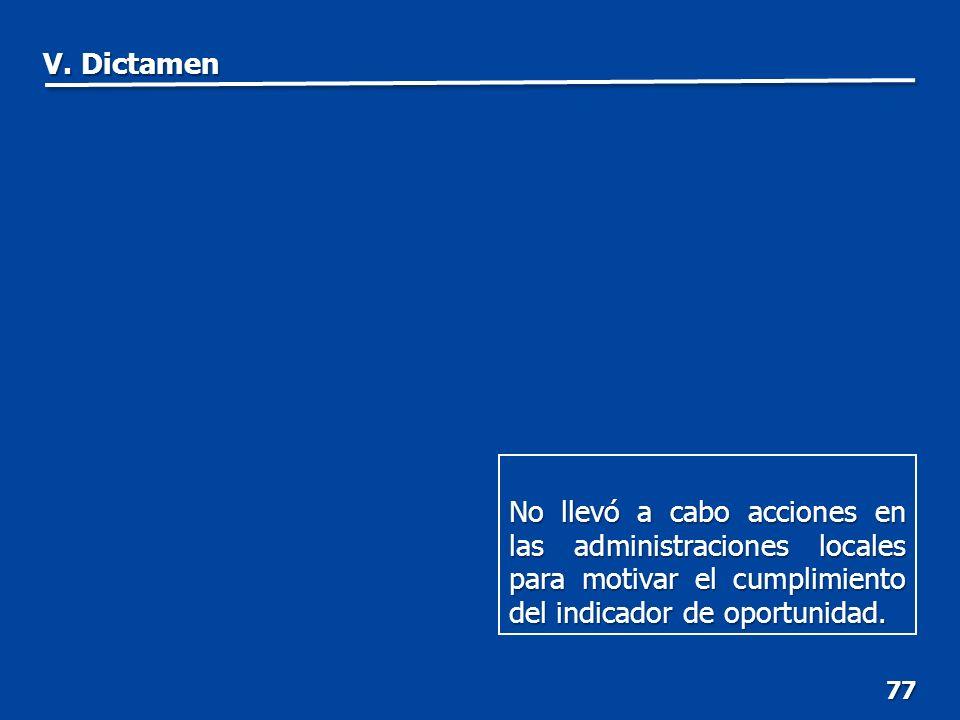 77 No llevó a cabo acciones en las administraciones locales para motivar el cumplimiento del indicador de oportunidad.