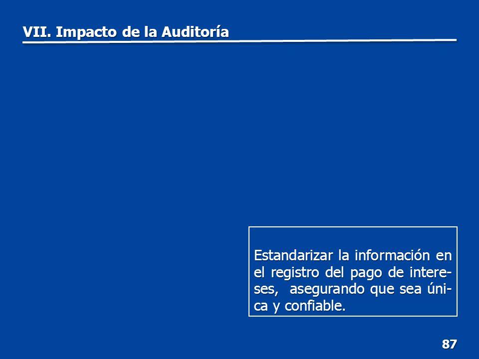 VII. Impacto de la Auditoría 87 Estandarizar la información en el registro del pago de intere- ses, asegurando que sea úni- ca y confiable.