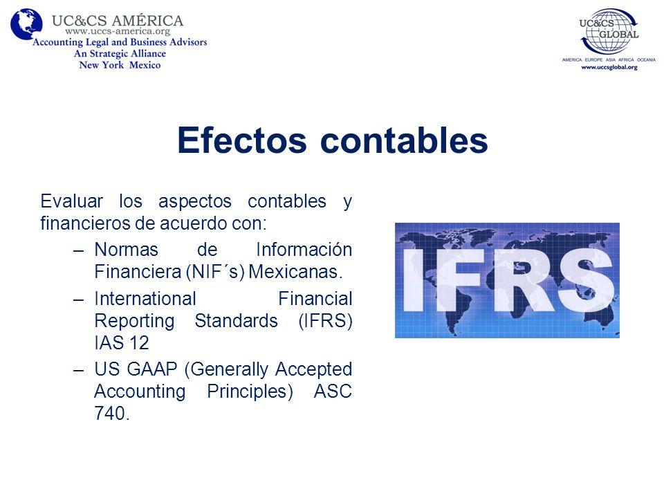 Efectos contables Evaluar los aspectos contables y financieros de acuerdo con: –Normas de Información Financiera (NIF´s) Mexicanas. –International Fin