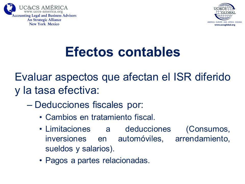 Efectos contables Evaluar aspectos que afectan el ISR diferido y la tasa efectiva: –Deducciones fiscales por: Cambios en tratamiento fiscal. Limitacio