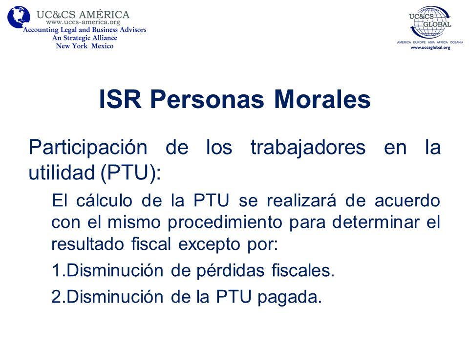 ISR Personas Morales Participación de los trabajadores en la utilidad (PTU): El cálculo de la PTU se realizará de acuerdo con el mismo procedimiento p